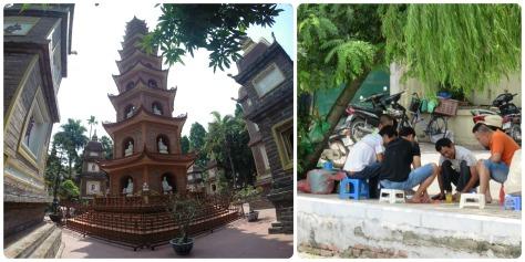 Tran Quoc pagoda y señores jugando ajedrez chino