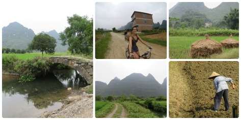 Paseando en bicicleta por los alrededores de Yangshuo.