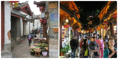 LiJiang en la mañana y en la noche