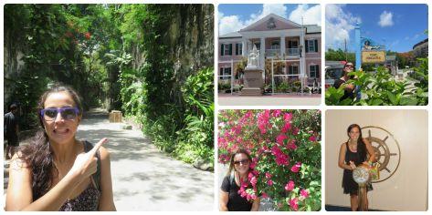 Paseo turistico por Nassau, mi cara en la primera foto es por una escalera gigante que hay atrás y que tuvimos que subir.