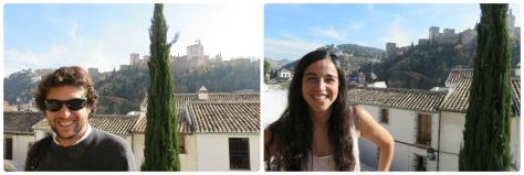 No nos sacamos ninguna foto juntos, asi que acá estamos por separados, con La Alhambra detras